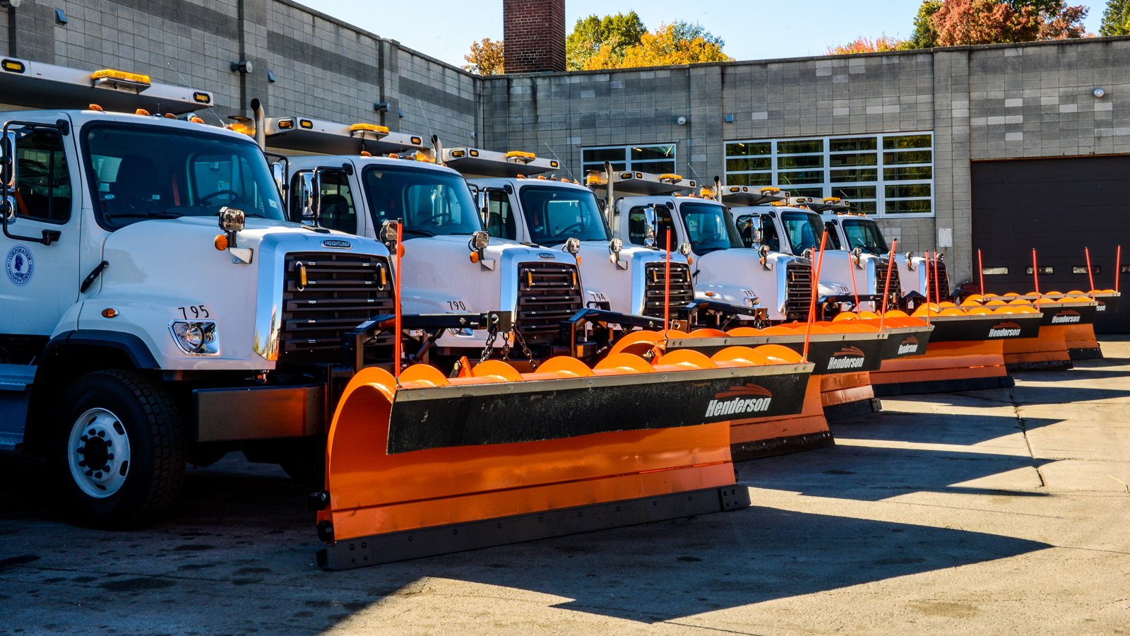 Fleet of snow plow trucks